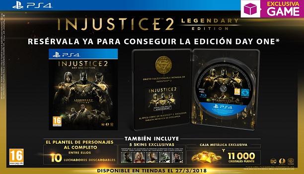 Injustice 2 Legendary Edition Day One llegará en exclusiva a GAME