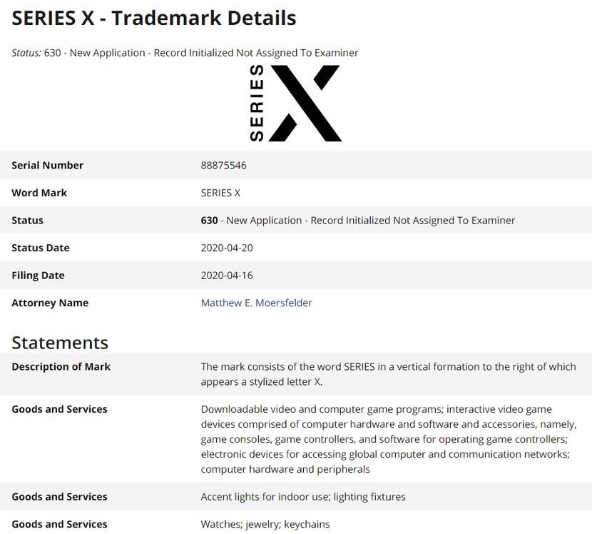 El logo registrado de la supuesta Xbox: Series S es el registro del logo de Xbox One S