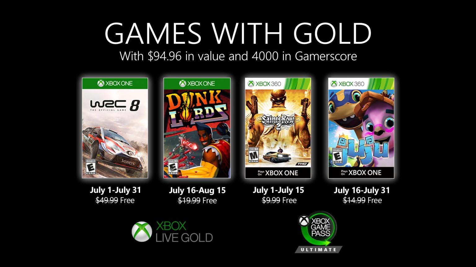 Descubre los Games With Gold de julio de 2020